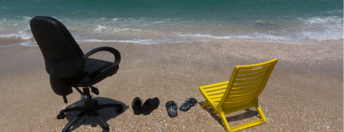 A business chair and deck chair on beach showing how social media has become dominated by brand loyalty.