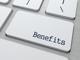 Benefits - Business Concept. Button on Modern Computer Keyboard. 3D Render..jpeg