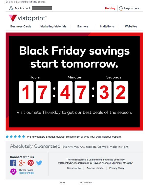 Vistaprint's Black Friday countdown the creates a sense of urgency
