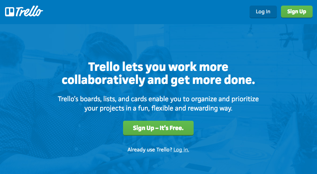 Trello's call-to-action that effectively compels readers