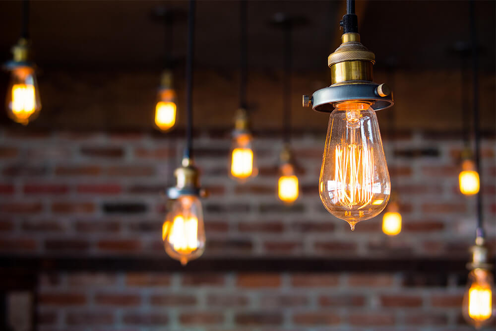 Light bulbs illustrating a lead is showing interest in a brand