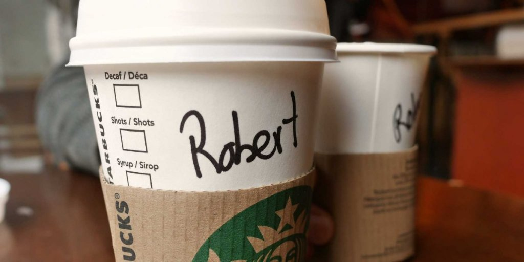 A Starbucks cup with name on showing that content needs to be more personalised and stylised on social media.